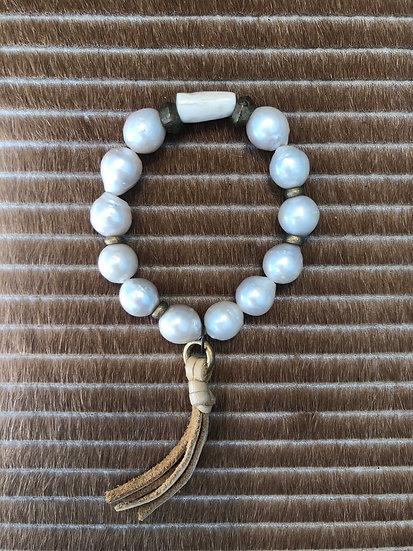 freshwater pearl bracelet + horn