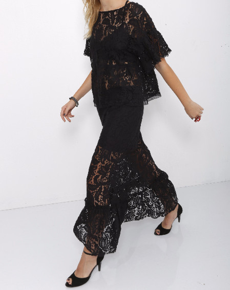 be8ed8c9ec An elegant maxi skirt made out of black lace, flared bottom and black layer  underneath. Can be worn as one piece or as a set with a white/ black  matching ...