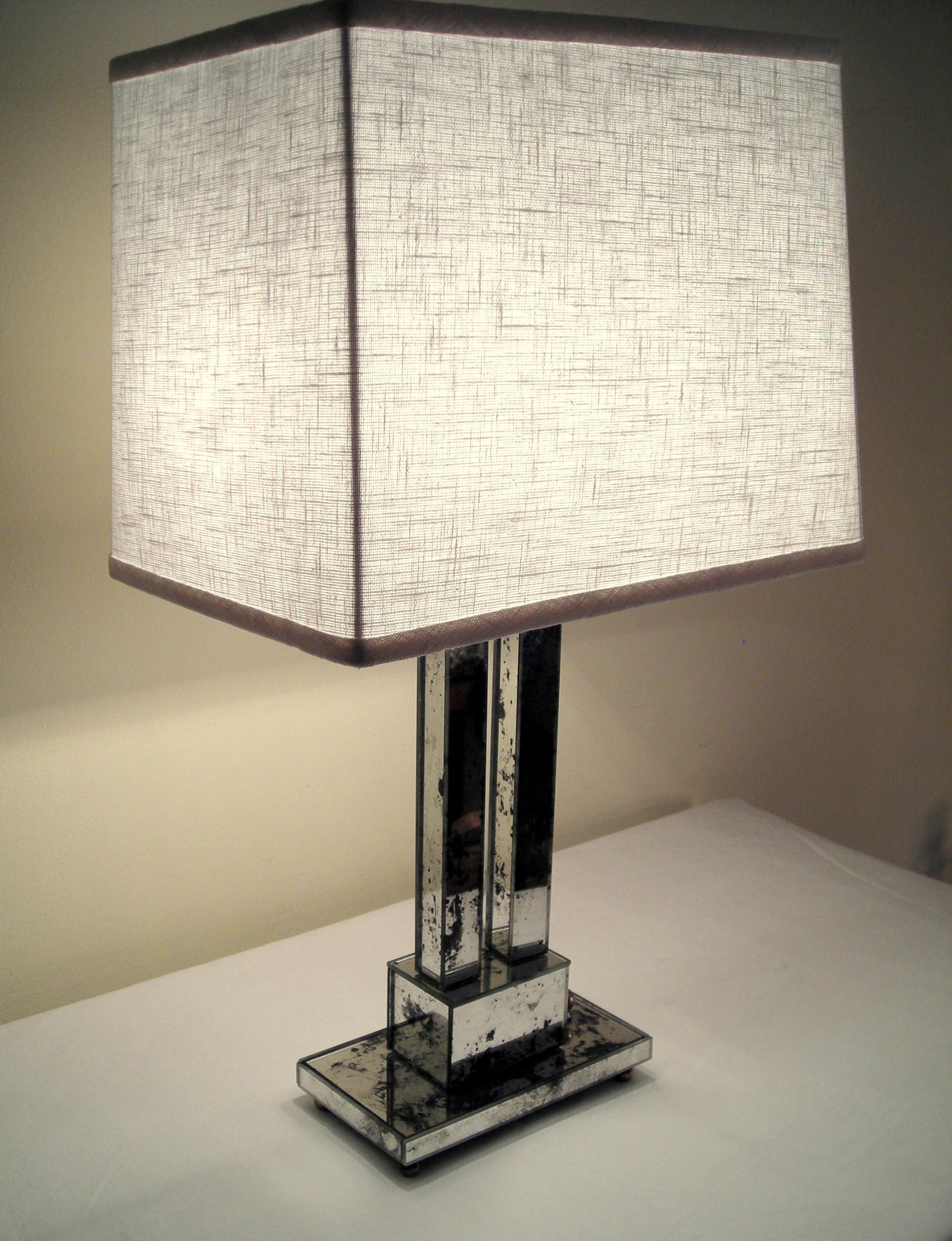 Reclaimed Mirror Table Lamp