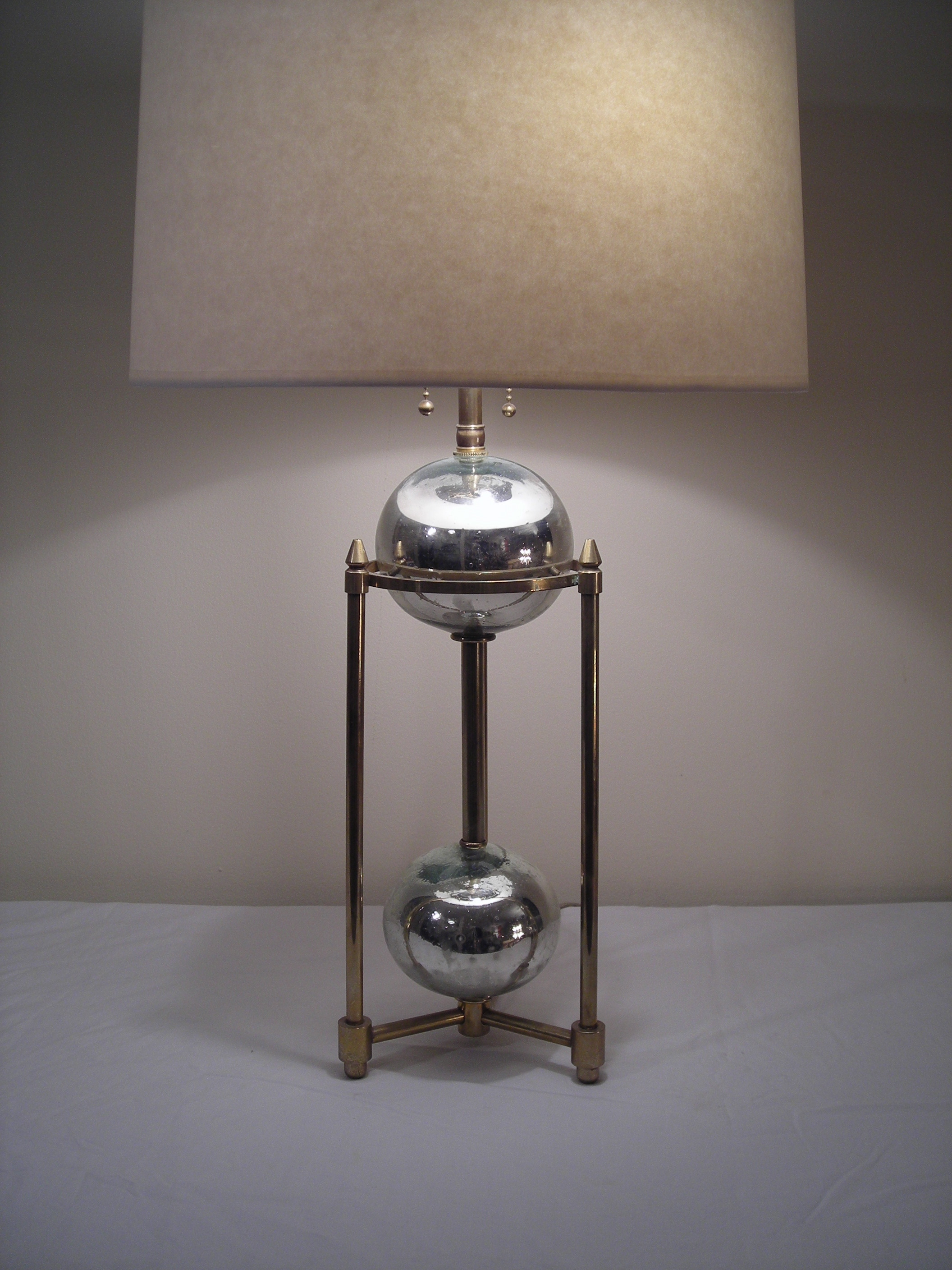Mercury Glass and Brass Table Lamp