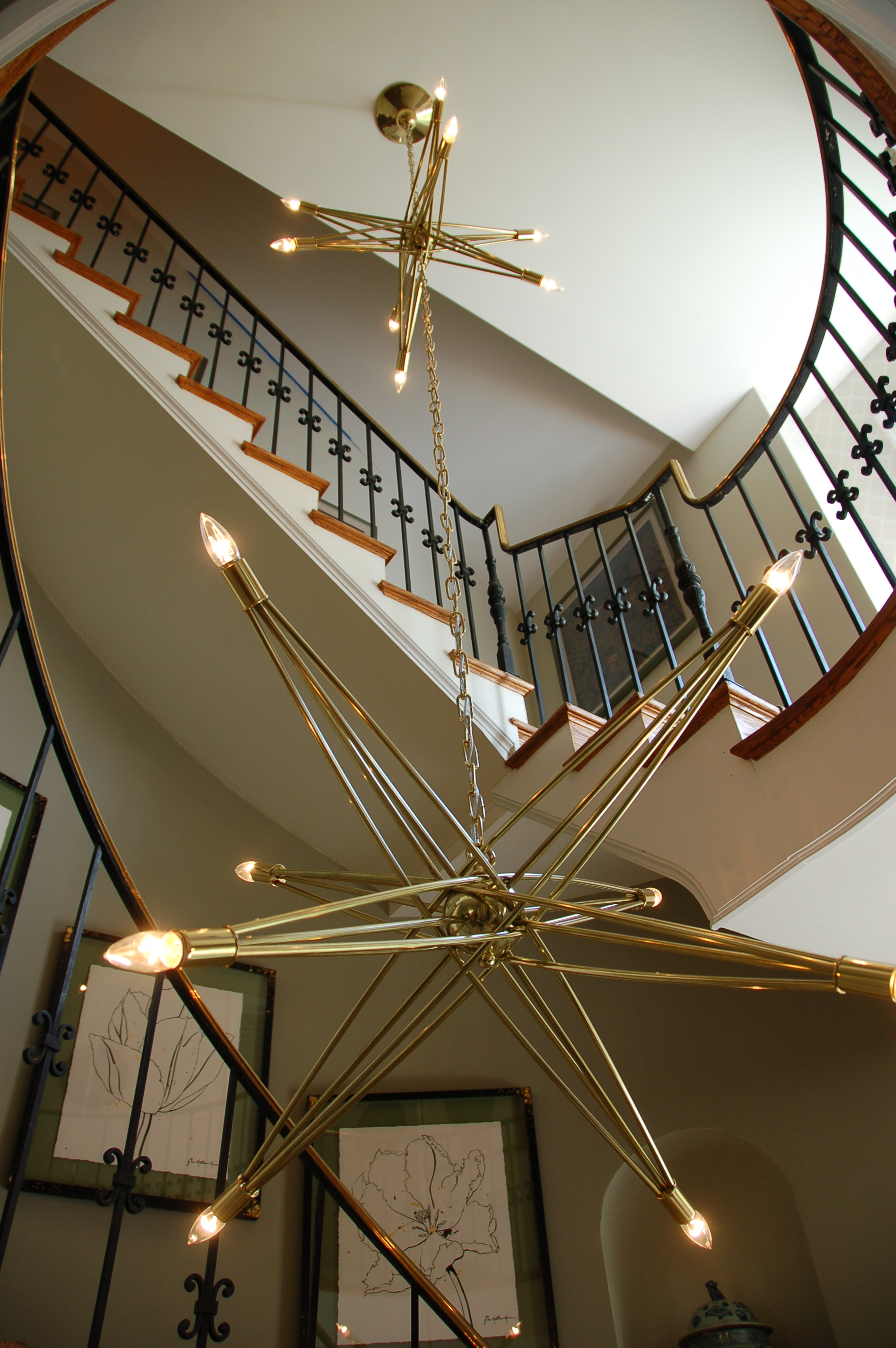 Double Brass Star Chandelier