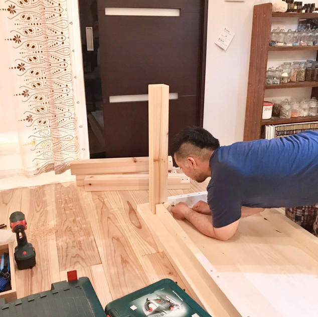 ダイニングテーブル(製作風景)