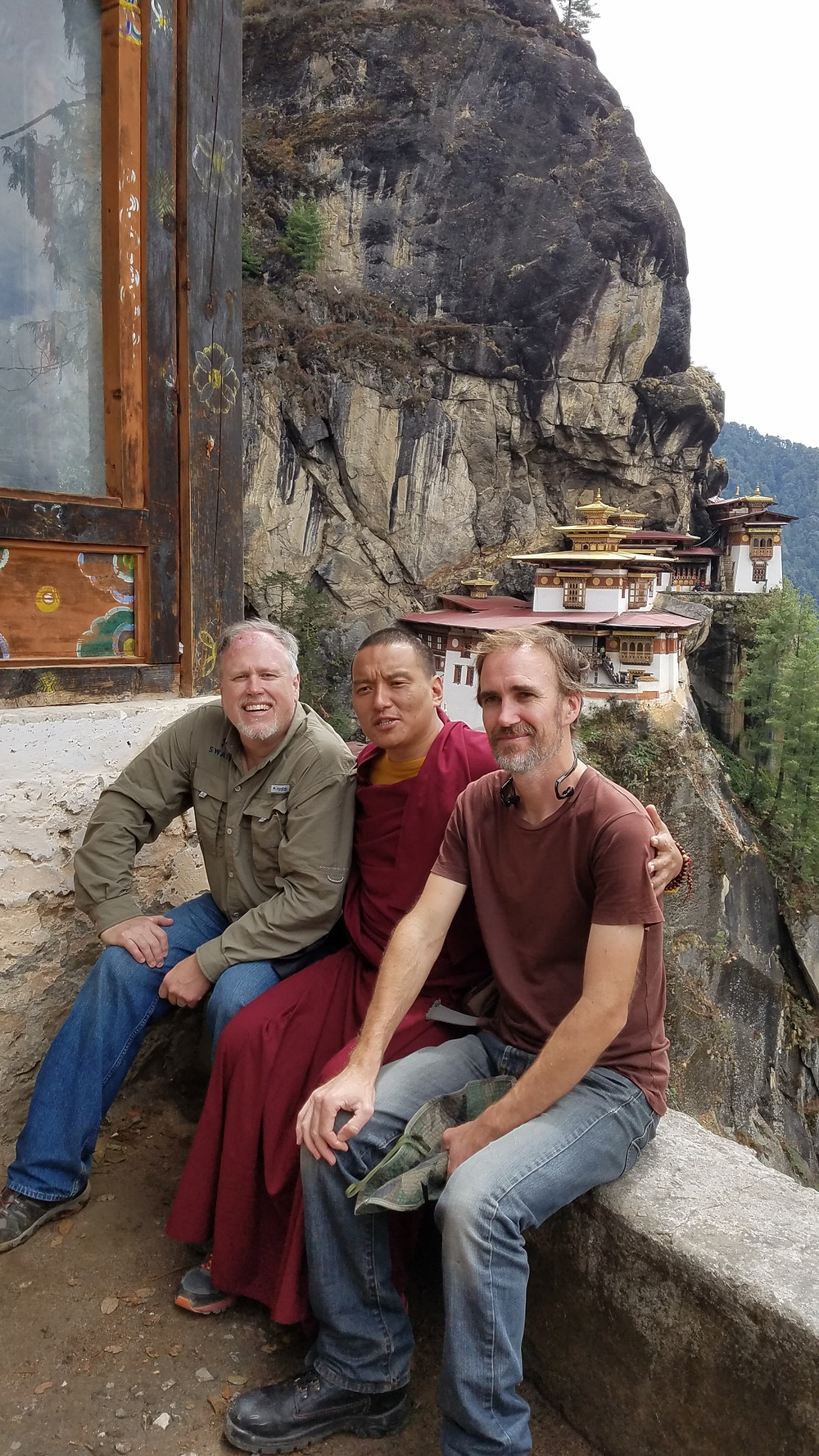 KEYSTONE PICTURES DP DARRYL RODE, MONK NEYGAN, DP/MATT PERRY AT THE TOP OF THE TRAIL WITH A VIEW TO THE TIGER'S NEST