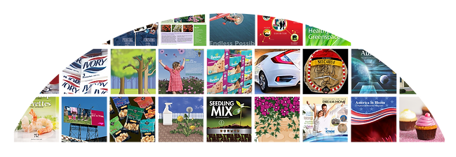 Grid of various portfolio work; graphics, illustration, photography, marketing.