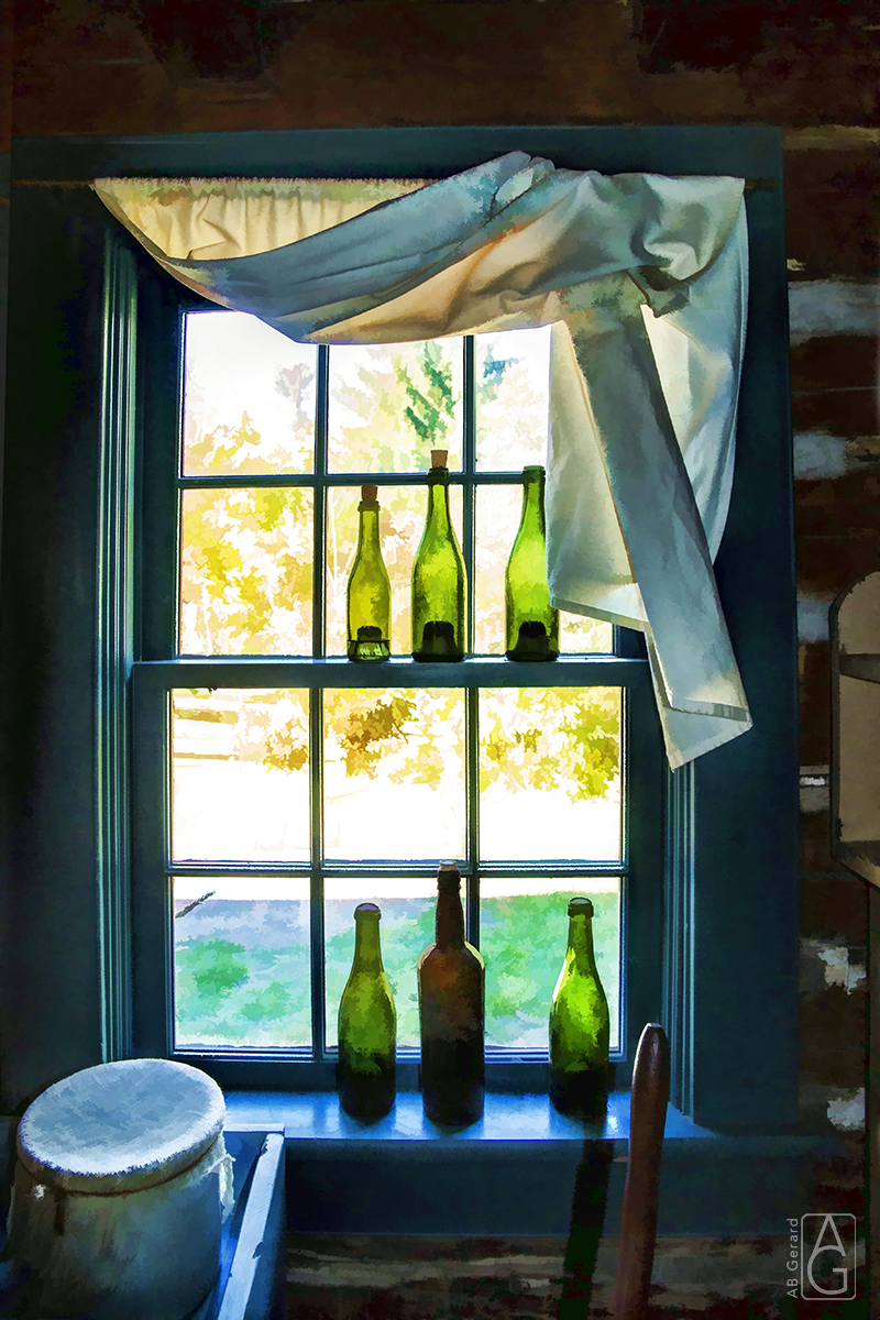 Old fashioned window with bottles