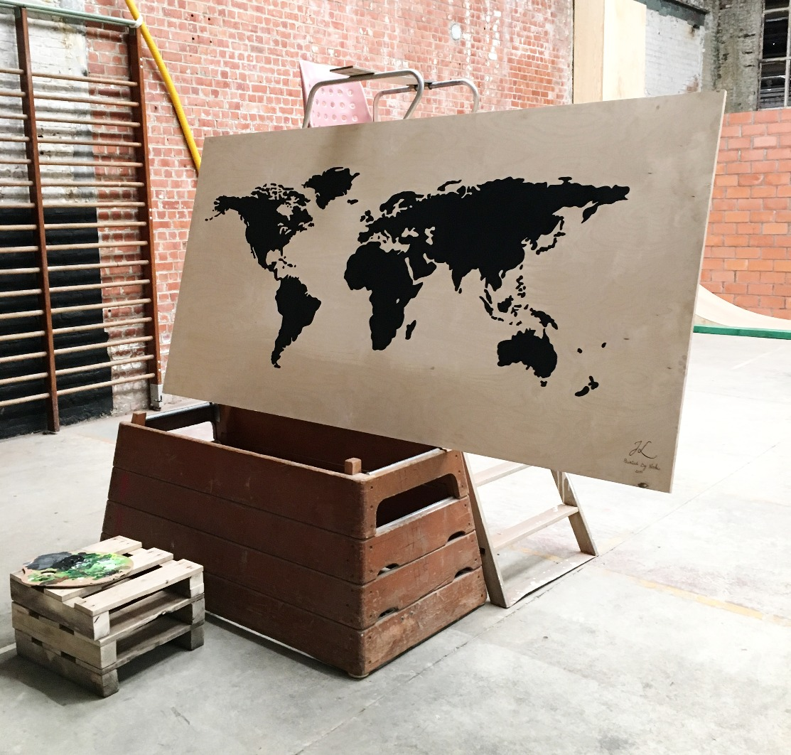 acrylic on wood map