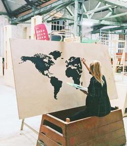 acrylic on wood map
