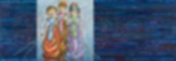 "JAVANESE III  |  36"" x 13"" oil on panel"