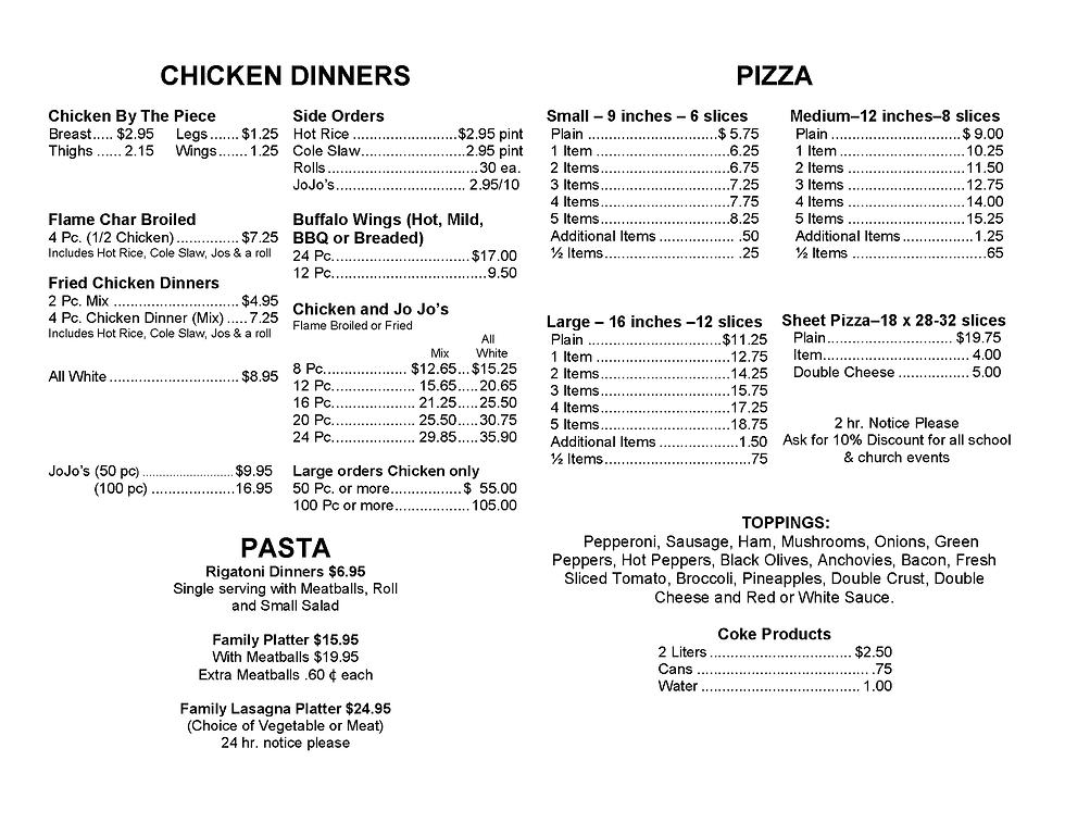 pizza, chicken, catering meu