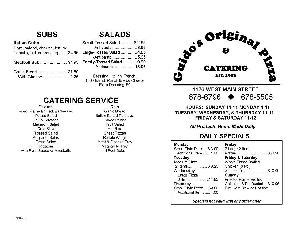 pizza, chicken, catering menu