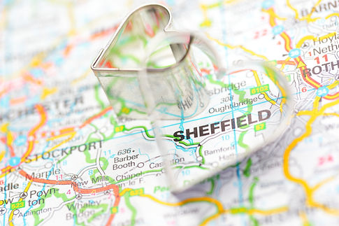 Iron heart on route map Sheffield, Unite
