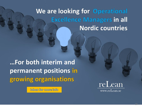Operational Excellence Managers for leading actor in the Nordics