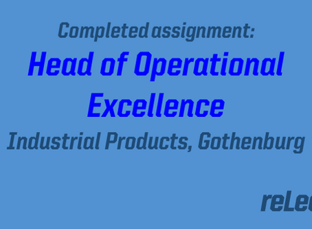 Completed assignment: Head of Operational Excellence
