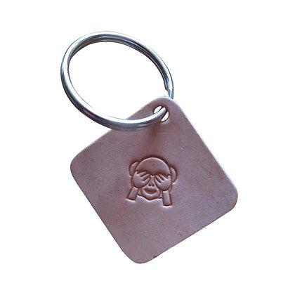 See No Evil monkey square leather keyring