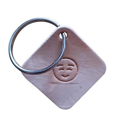 Blushing emoji square leather keyring