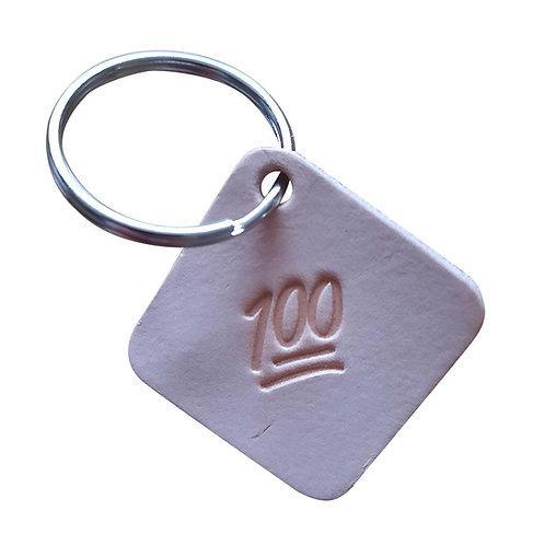 The 100 emoji square leather keyring