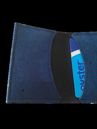 Slim Dark Blue Cork Leather Card Wallet