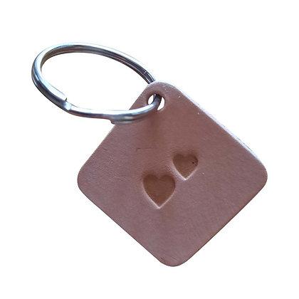 2 Hearts emoji square leather keyring