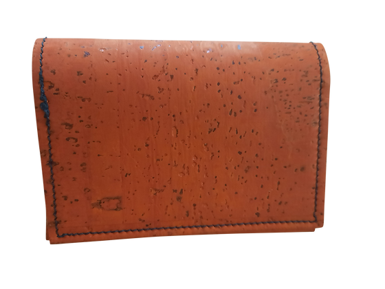 Slim Orange Cork Leather Wallet