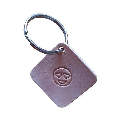 Heart Eyes emoji square leather keyring