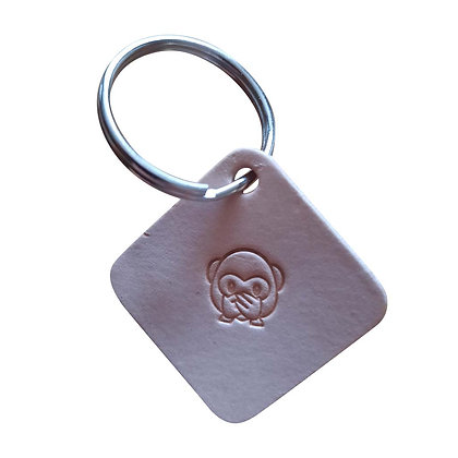 Speak No Evil monkey square leather keyring