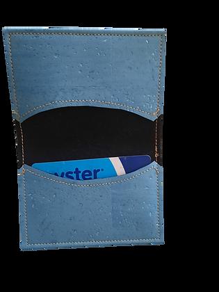 Slim Light Blue Cork Leather Card Wallet