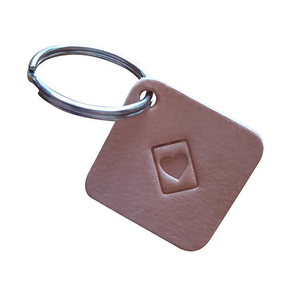 Heart in a Box emoji square leather keyring