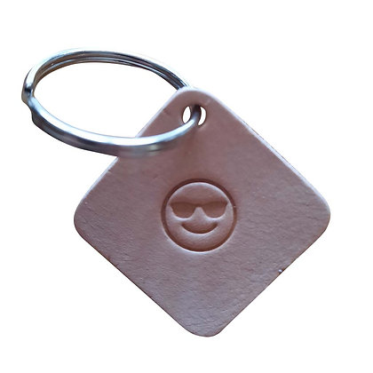 King (or Queen)of the World emoji square leather keyring