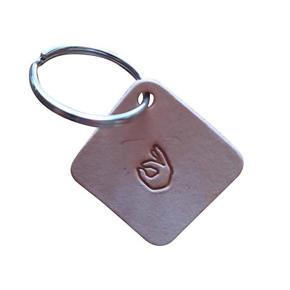 OK emoji square leather keyring
