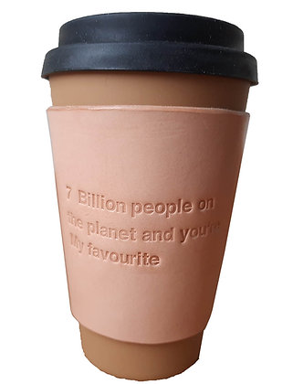 7 billion people - Leather coffee sleeve
