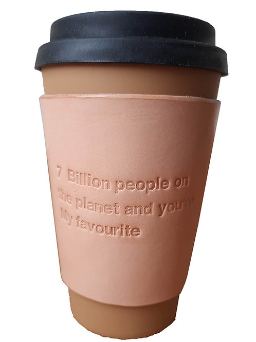 7 billion people - Leather coffee sleeve
