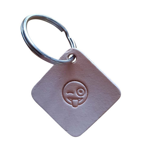 Winking face with stuck-out tongue emoji square leather keyring