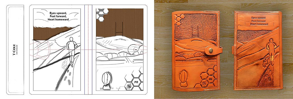 Features two images, the first a hand drawn sketch featuring a rugby ball, goal posts, Manchester Hills and Bee hive theme, the rear has a man running across the hills with his dog. The right of the sketch shows that design tooled onto leather, has been hand-dyed an orange, brown, saddle tan colour