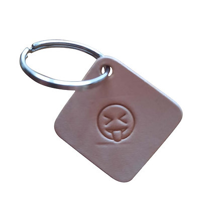 Squinting Face with tongue stuck out emoji square leather keyring