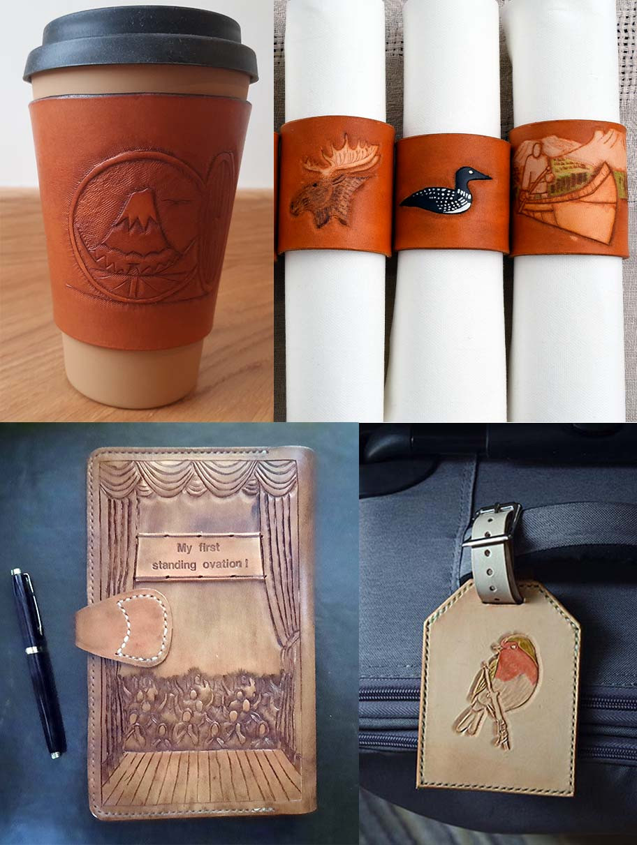 A collage of 4 commissions. Top left shows a coffee sleeve with an open hobbit door looking to the lonely mountain and a dragon. Top right shows 3 leather napkin rings with designs of a moose, loon and kayak with mountains in the background. Bottom left, dark brown journal cover rear with a roaring crowd from the view of a ballerina performing. Bottom right is a rectangular luggage tag with a robin carved onto top surface and painted robin colours