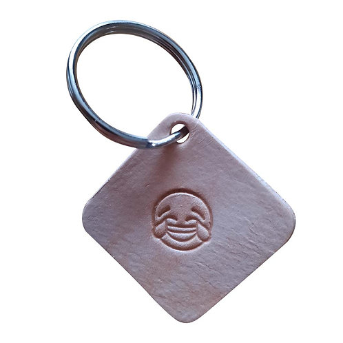 Crying tears of Joy emoji square leather keyring