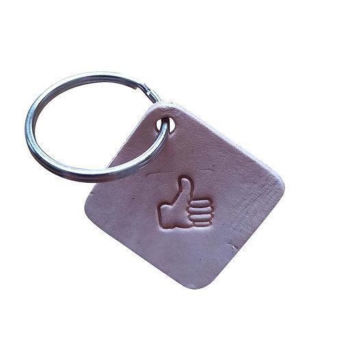Thumbs Up emoji square leather keyring