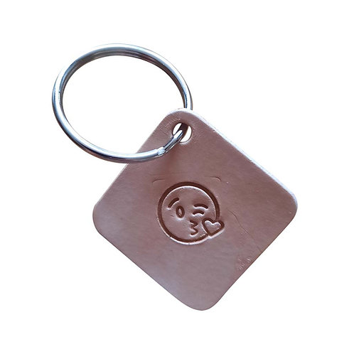 Blowing a kiss emoji square leather keyring