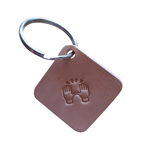 Congratulations emoji square leather keyring