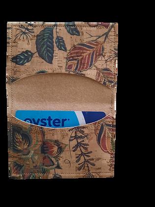 Slim Floral Cork Leather Card Wallet