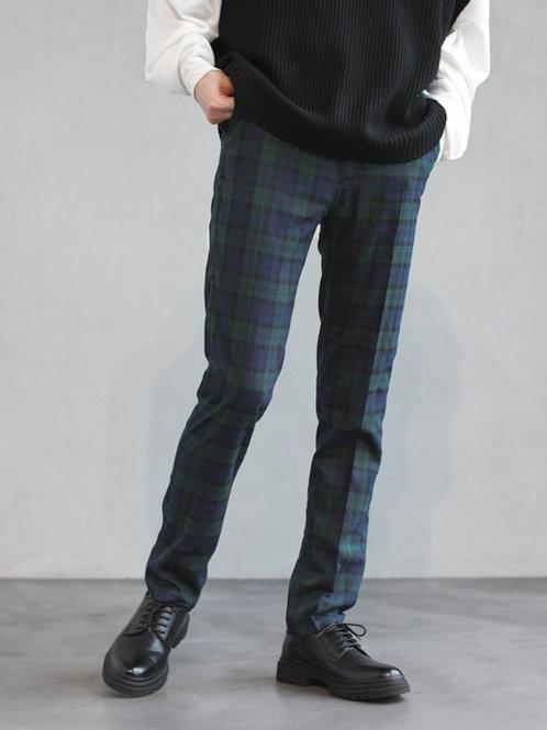 TRストレッチ スーツ地 テーパード スラックス パンツ