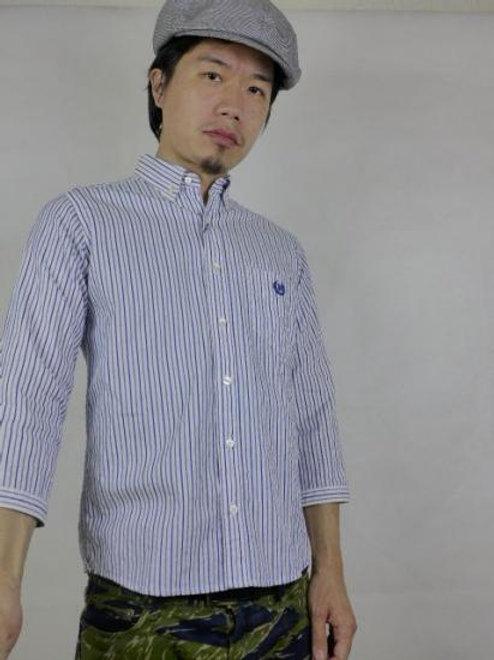 ネバートラストSolidStripe7分袖BDシャツ