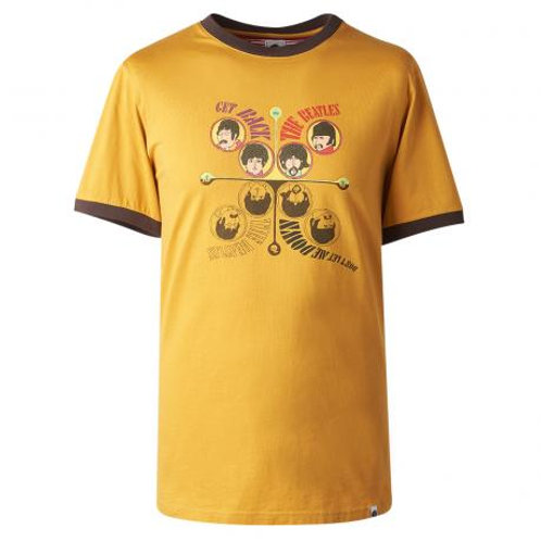プリティーグリーンSGT.SSGETBACKプリントクルーネックTシャツ(イエロー)