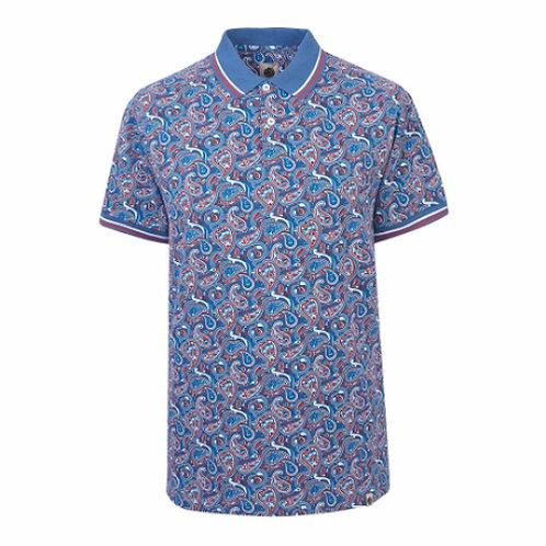 プリティ―グリーンSSGRETTONペイズリーポロシャツ(ブルー/ペイズリー)