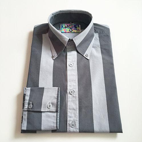 MADCAPキャンディストライプボタンダウンシャツ〈グレー/シルバー〉
