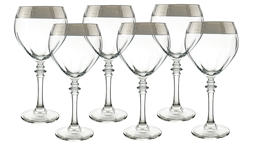"SILVER RIBBON DESIGN 6-PC SET OF 8"" WINE GLASS"