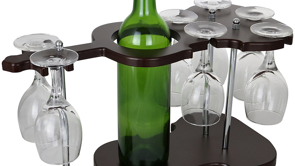 9X16X8 GUITAR SHAPED WINE BOTTLE & 7 GLASS HOLDER