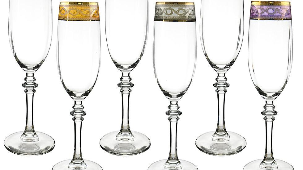 "6-PC SET OF MULTICOLOR 9"" FLUTE GLASSES"