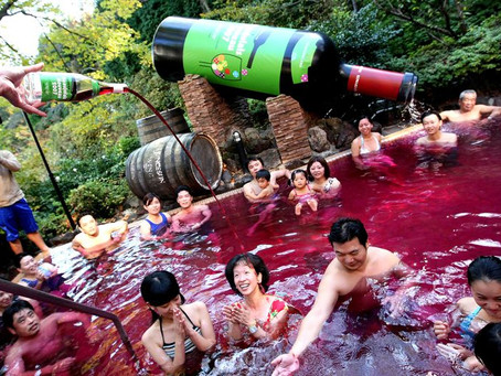 Japanese Spa Lets You Swim In A Pool Of Red Wine...