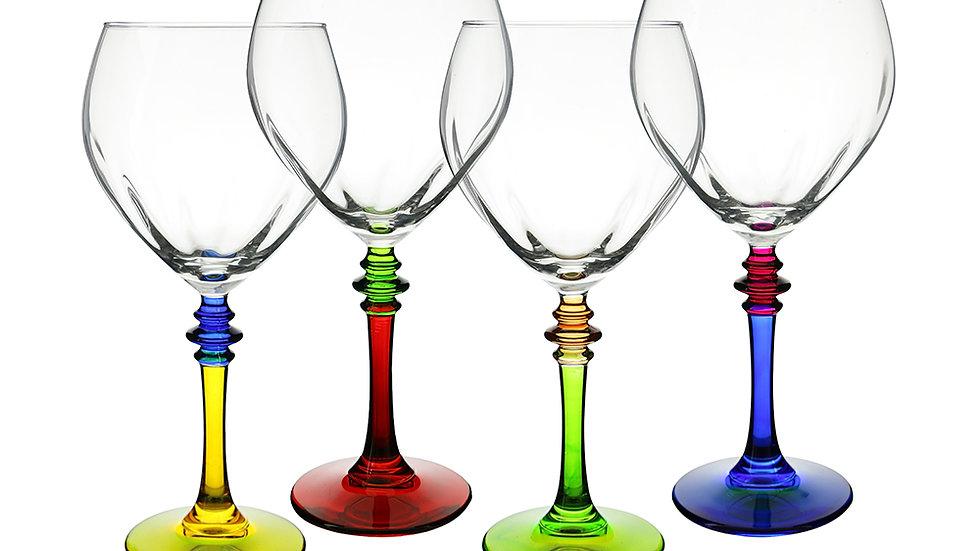 """4PC SET OF MULTICOLOR 8"""" WINE GLASSES"""